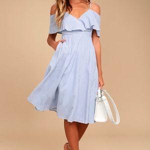 Lulu's Yacht Rock Blue Off Shoulder Dress